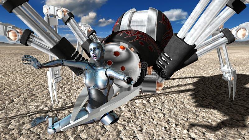 机器恐怖机械机器人蜘蛛 皇族释放例证