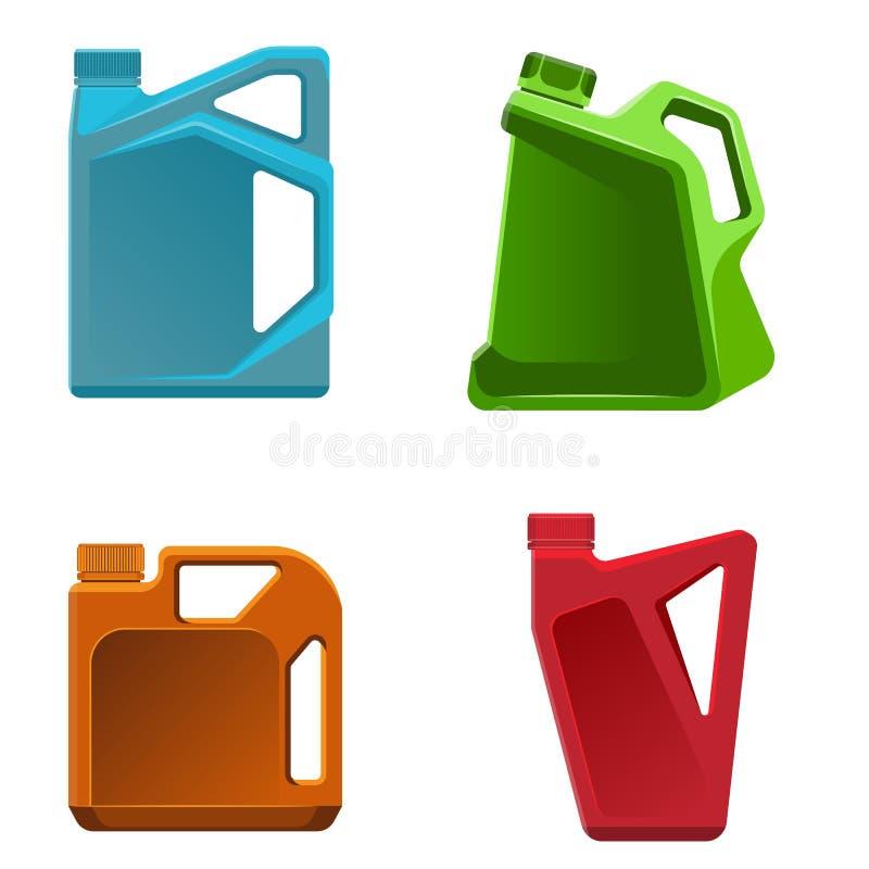 机器润滑油瓶不同的颜色容器的传染媒介例证 库存例证