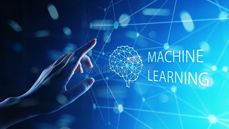 机器深刻的学习算法和AI人工智能 互联网和技术概念在虚屏上 向量例证