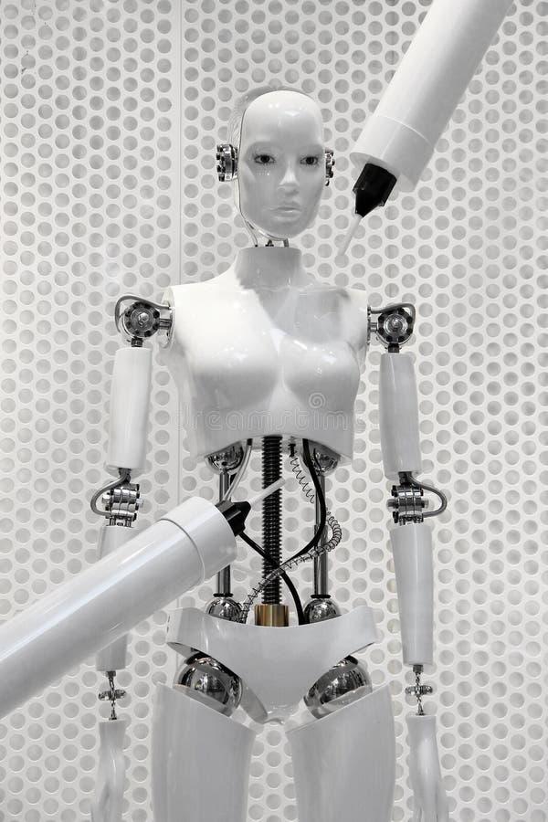 机器被做的未来派白机器人妇女 免版税库存照片