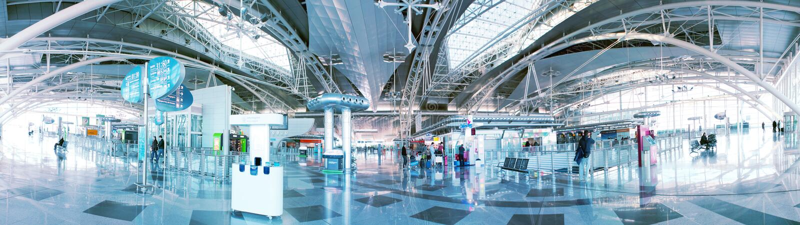 机场休息室全景 免版税库存图片