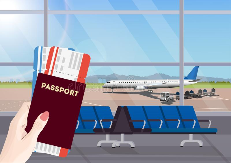机场休息室或离开休息室有椅子的 在飞机的终端大厅机场视图 库存例证