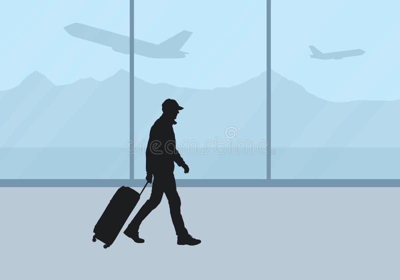 机场休息室的现实例证有窗口和飞机的在背景 带着手提箱的人游人去并且等待 库存例证