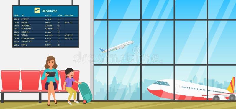 机场候诊室或离开休息室有椅子、信息面板和人的 终端大厅有飞机视图 皇族释放例证