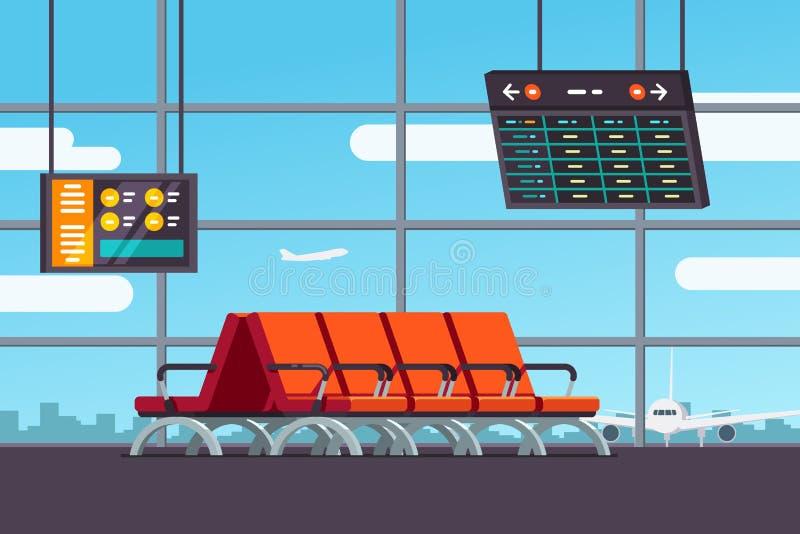 机场候诊室或离开休息室 库存例证
