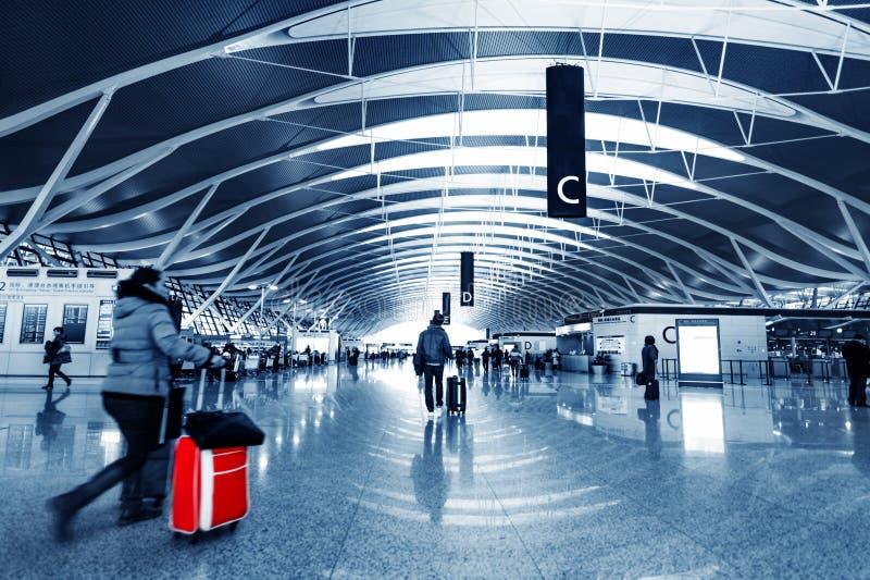 机场内部乘客pudong上海 免版税库存图片
