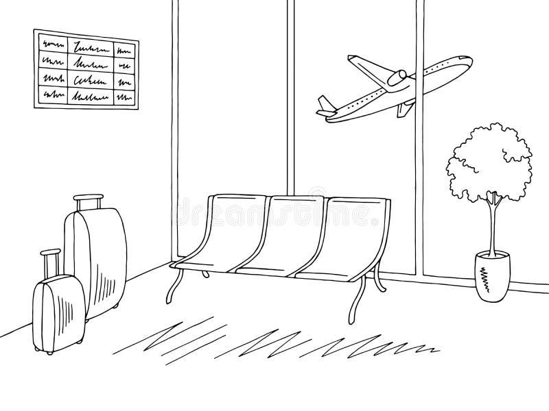 机场内部图表黑白色剪影例证传染媒介 皇族释放例证