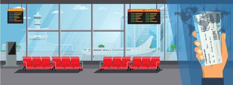机场内部等待的霍尔离开休息室现代终端概念 高详细的平的颜色传染媒介例证 皇族释放例证