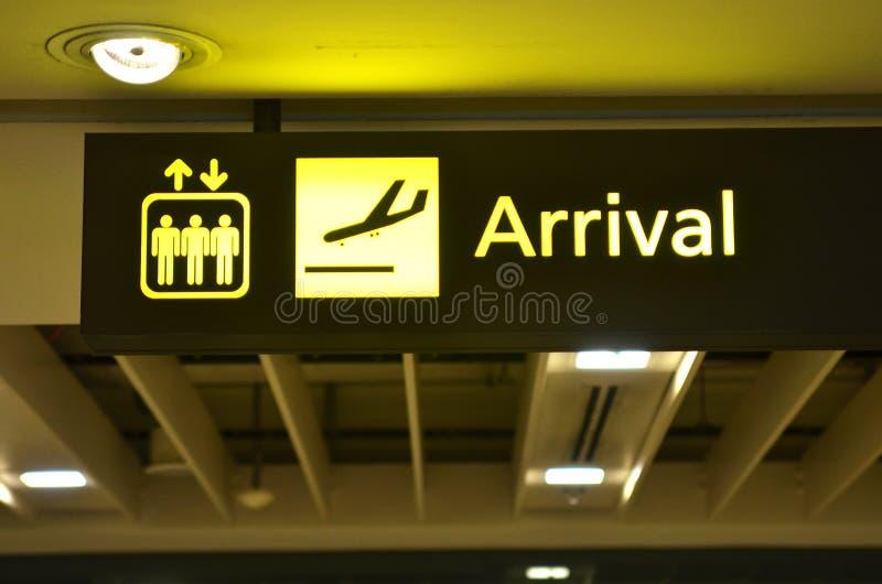 机场到来标志 库存照片