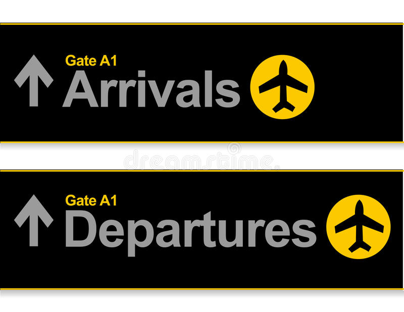 机场到达启运 库存例证