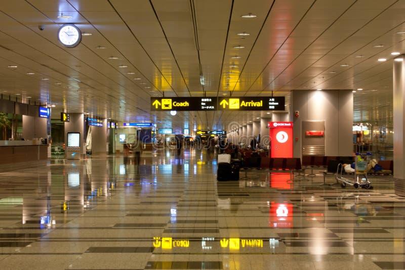 机场到达changi大厅新加坡 免版税图库摄影