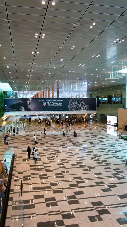 机场到达changi大厅新加坡 免版税库存图片