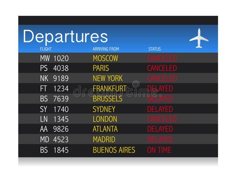 机场危机-被延迟的启运表取消 皇族释放例证