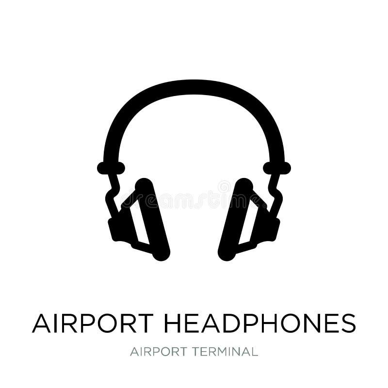机场在时髦设计样式的耳机象 机场在白色背景隔绝的耳机象 机场耳机导航 向量例证