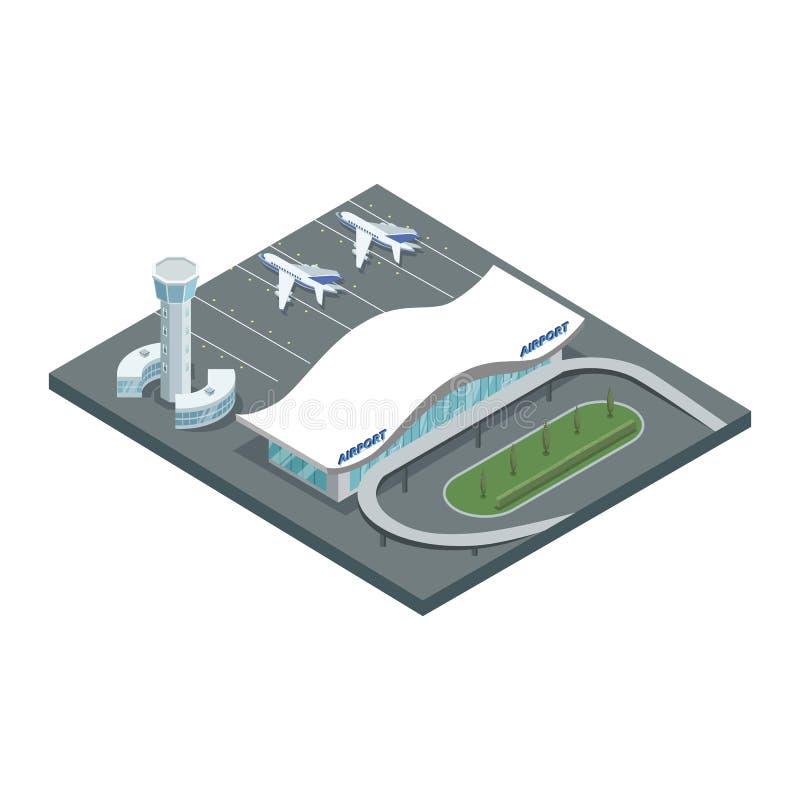机场地面设计在isometry的 库存例证
