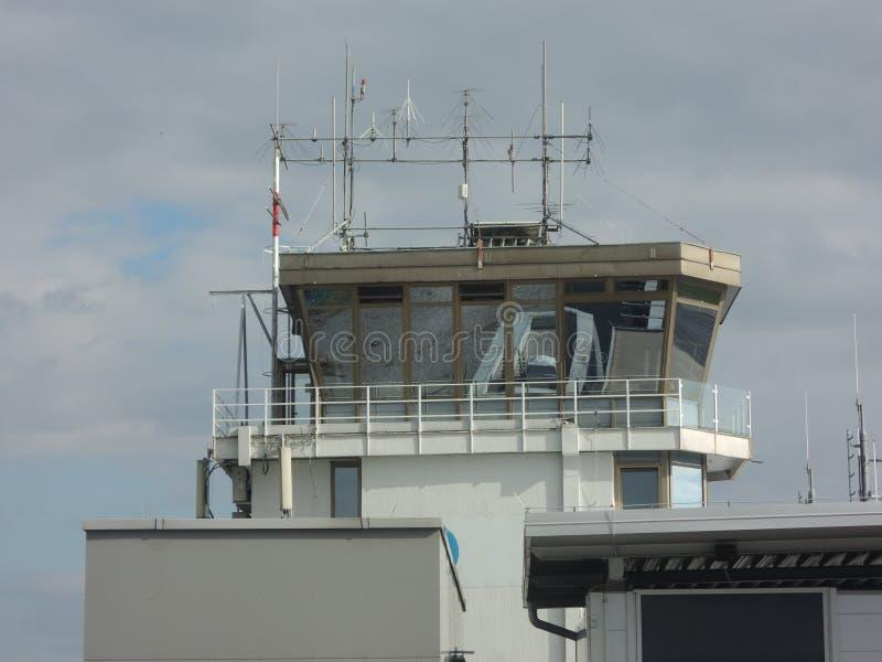 机场塔台在卢布尔雅那,斯洛文尼亚 免版税图库摄影