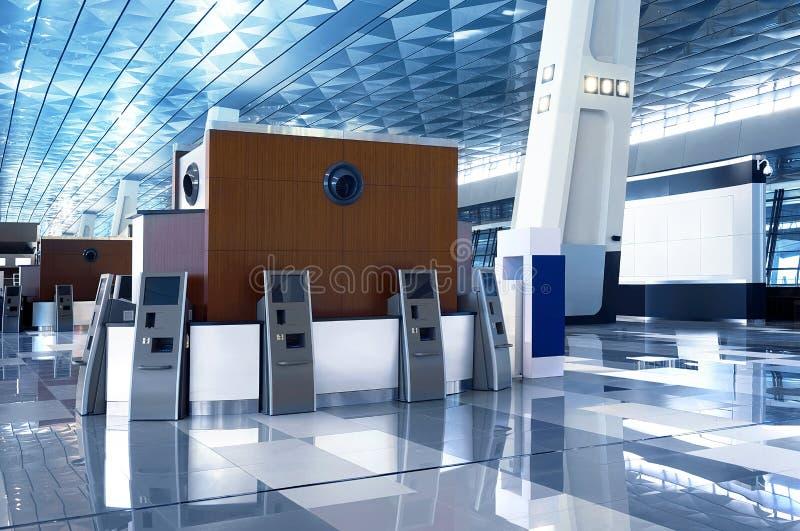 机场大厅蓝色屋顶 免版税图库摄影