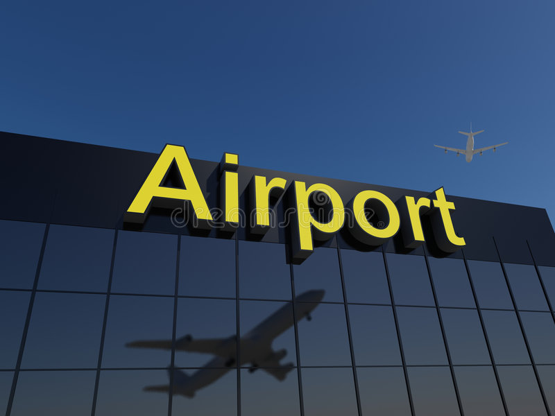 机场大厦玻璃现代反射性终端 皇族释放例证