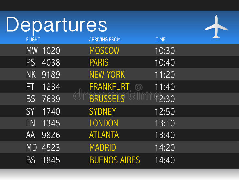 机场时间启运表例证设计 皇族释放例证