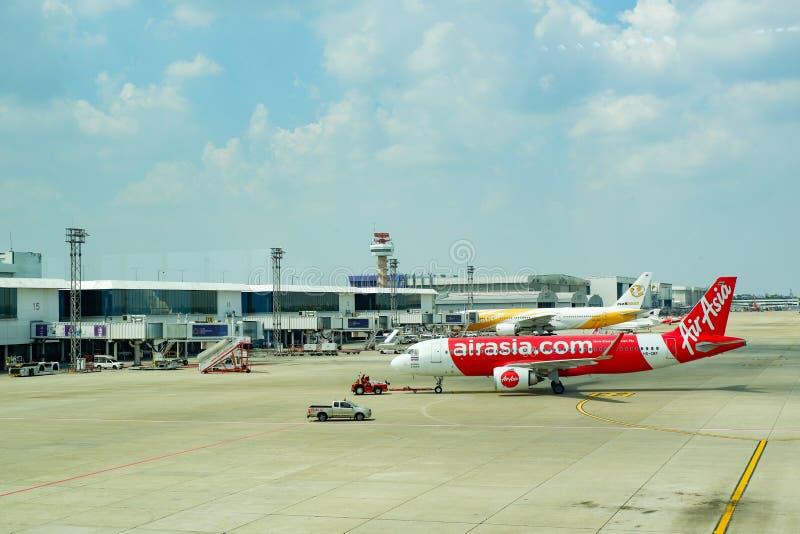 机场曼谷亚洲空中客车和Nok空气 图库摄影