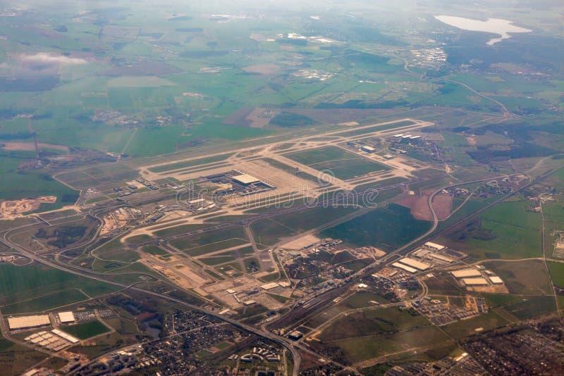 机场柏林布兰登堡鸟瞰图,德国 免版税图库摄影