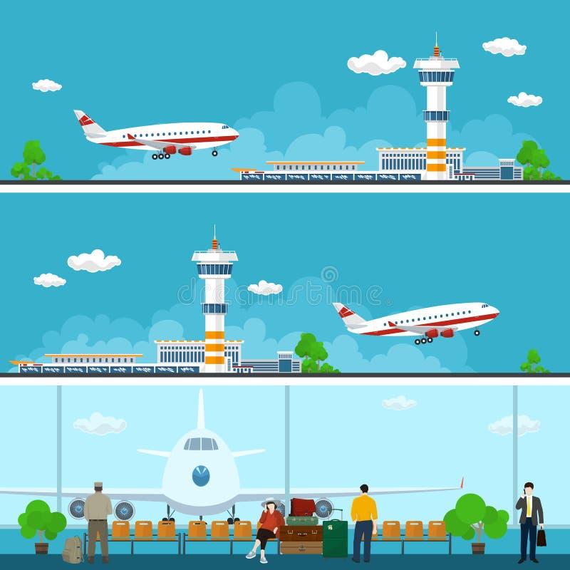 机场横幅,旅行概念 皇族释放例证