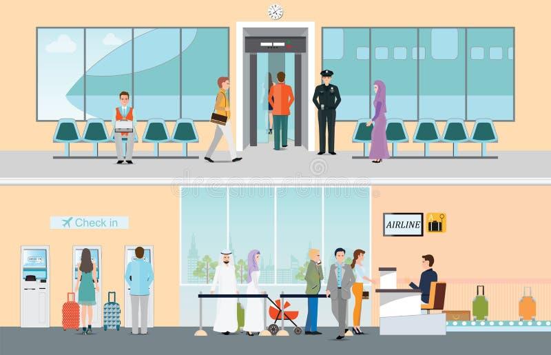 机场水平的横幅设置了与sy的注册和上 皇族释放例证