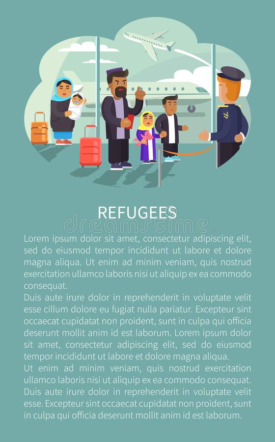 机场海报传染媒介例证的难民 库存例证