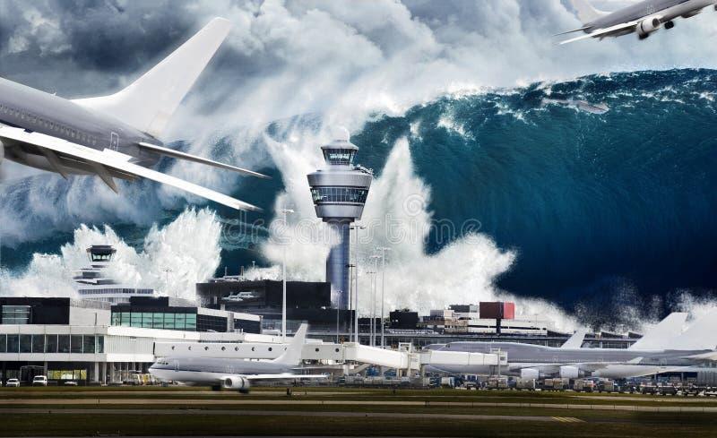 机场由水大波浪击中 库存图片