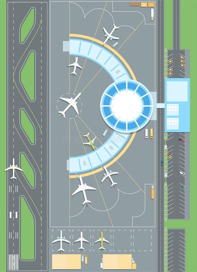 机场的顶视图-现代传染媒介五颜六色的例证 向量例证