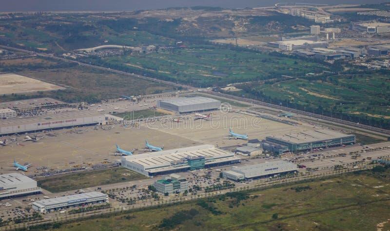机场的鸟瞰图 免版税图库摄影