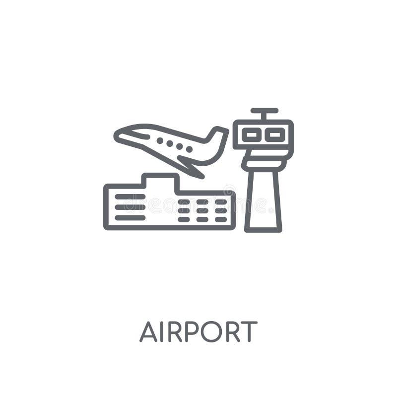 机场线性象 在丝毫的现代概述机场商标概念 向量例证