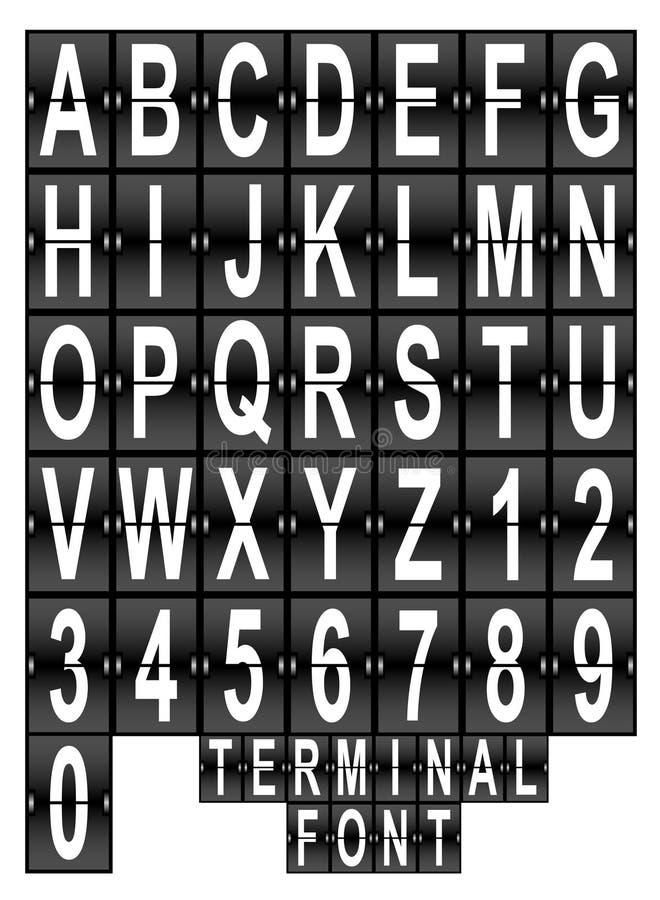 机场终端显示字体集 皇族释放例证