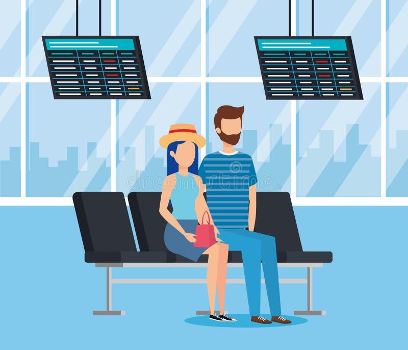 机场终端长凳设计 向量例证