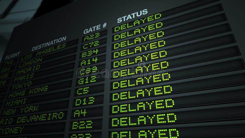 机场董事会被延迟的飞行信息 库存例证