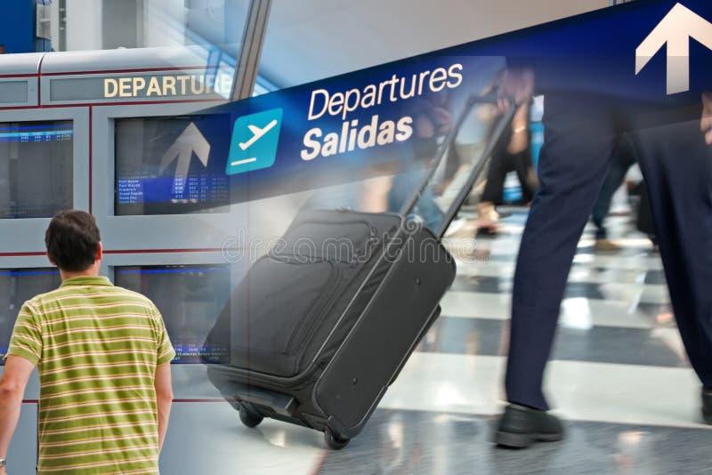 机场蒙太奇旅行 免版税库存照片