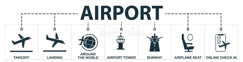 机场设置了象汇集 包括简单的元素例如起飞,着陆,环球,飞机位子,跑道,在网上 库存例证
