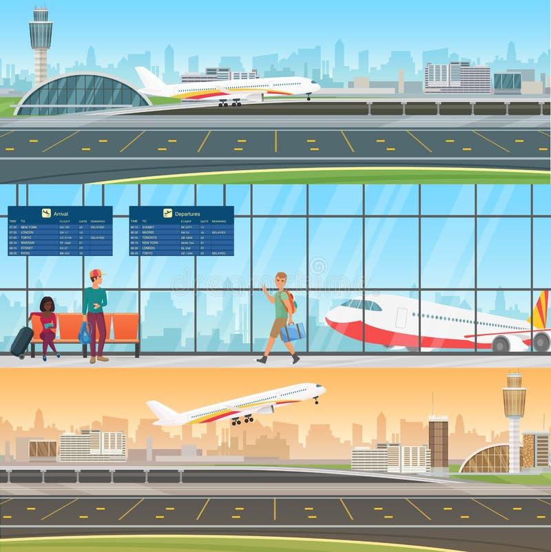 机场详细的水平的传染媒介横幅模板 航空器到来和离开 候诊室在终端与 皇族释放例证