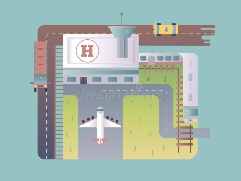 机场顶视图 库存例证