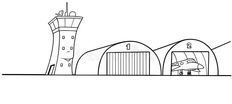 机场飞机棚 向量例证