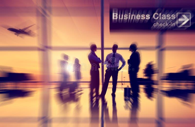 机场飞机空中运输商务旅游概念 免版税库存图片