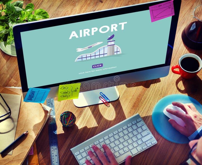 机场飞机飞行目的地旅途概念 免版税库存照片