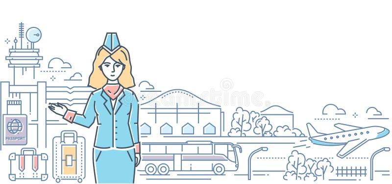 机场-现代线设计样式五颜六色的例证 向量例证