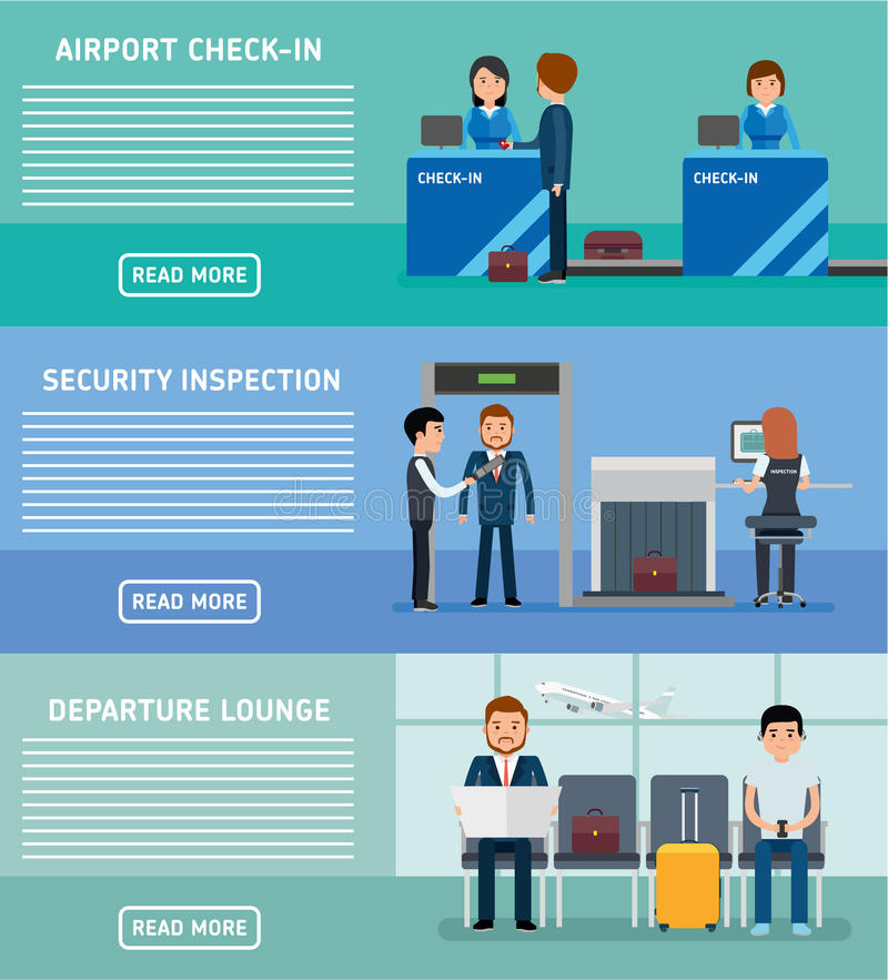 机场终端横幅 机场终端安全检查,报到,候诊室 皇族释放例证
