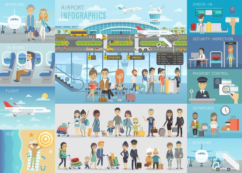 机场Infographic设置了与图和其他元素 库存例证