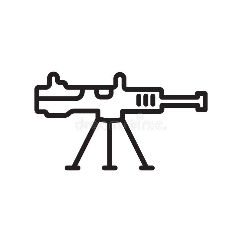 机枪象在白色背景和标志隔绝的传染媒介标志,机枪商标概念,概述标志,线性标志 库存例证