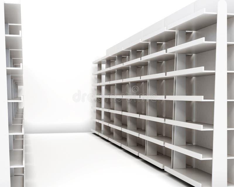 机架行有架子的在白色背景 3D rende 库存图片