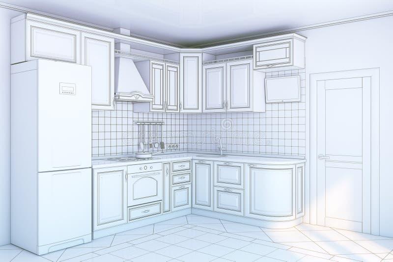 机柜内部厨房 向量例证