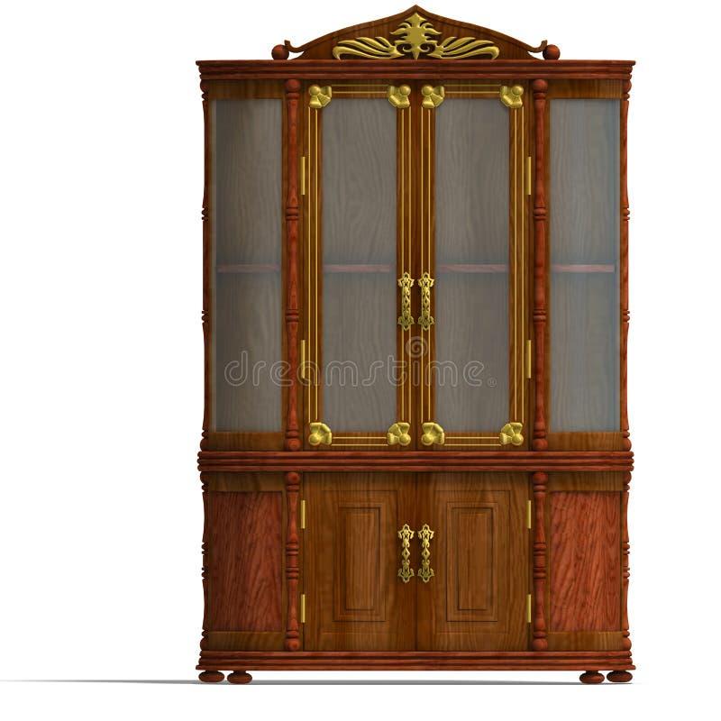 机柜玻璃路易斯木xv 库存例证