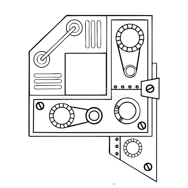 机械信件Q板刻传染媒介例证 库存例证